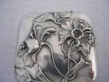 Fleur ART NOUVEAU 1900 Exceptionnelle Boîte pilules ARGENT MASSIF Silver box TOP