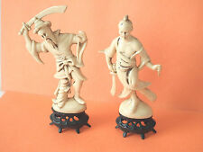 Vintage Resin Ivory Color Figurines  Asian Armed  Samurai Men  made in Hong Kong