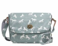 Horse small crossbody satchel bag PVC coated Oilcloth Light Blue/Grey