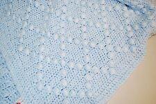 "Handmade Afghan Baby Boys Blanket - Soft, Blue Nubby Knit 43"" x 36"""