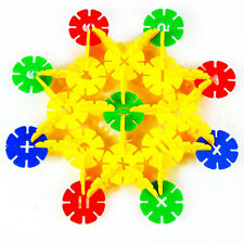 100xBaby Kids Xmas DIY Plastic Building Block Snowflake Creative Educational Toy