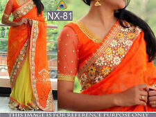 BOLLYWOOD DESIGNER PARTY WEAR ORANGE & YELLOW GEORGETTE SAREE
