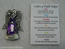 p Live by FAITH one day at a time COLORS OF FAITH POCKET TOKEN ANGEL charm purpl