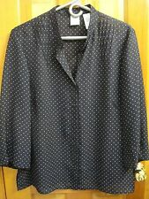 EMMA JAMES sz 14 Navy Blue with Beige Dots Button Front Top