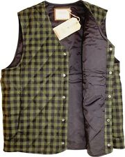 Remington - Mens L - Chive Green Tuscanian Buffalo Check Wool Blend Quilted Vest