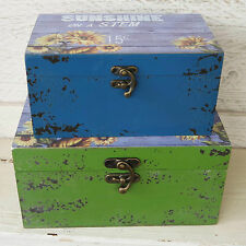 Set 2 Shabby Rustic Blue Green Sunflower Sunshine Wooden Nesting Storage Boxes