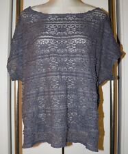 TORRID Knit Top 1 1X Gray Lace Sheer Short Sleeves Stretchy
