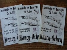 LORRAINE - 3  TRACTS PORTES OUVERTES BASE AEIENNE NANCY OCHEY AVEC TIMBRES 1975