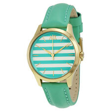Armani Exchange Green and White Striped Dial Green Leather Ladies Watch AX5237