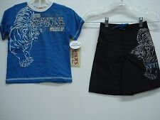 NWT Boy's Carters T-Shirt & Swim Shorts Outfit Blue/Black Multi Size 6 #300K