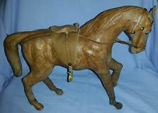 ANTIQUE FOLK ART LEATHER COVERED PAPER MACHE HORSE GLASS EYES & LEATHER SADDLE