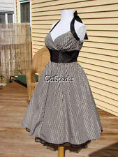 NWT BETSEY JOHNSON TAFFETA GINGHAM ROCKABILLY HALTER DRESS~2 MADE IN USA