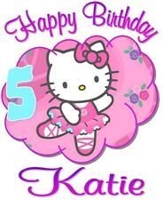 HELLO KITTY HAPPY BIRTHDAY T-SHIRT Personalized Any Name/Age Toddler to Adult