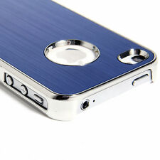 Luxury Steel Aluminum W/Chrome Snapon Hard Cover Case for iPhone 4 4S BLUE