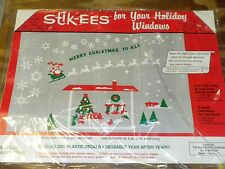 Stik-EES Christmas Night Before fireplace BONUS Window Cling Glossy Reusable NEW