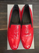 NWB Alexander McQueen Red Leather Skull Loafers Shoes Size 42, UK 8, US 9