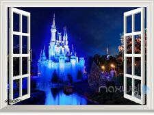 Disney Princess Magic Castle Night 3D Window Wall Decal Girl Sticker Party Decor