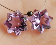Eye Clean Natural Brazilian Amethyst Star Briolette Matched Pair Gemstone Beads