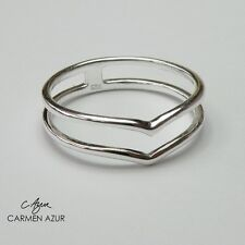 Solid 925 Sterling Silver Midi Ring Double Heart / Wishbone Design New Gift Bag