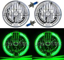 "7"" Green Split LED Halo Angel Eye Headlight Halogen Headlamp 60W Light Bulb Pair"