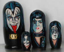 KISS - Very Rare 5 Piece Hand Painted Russian Wooden Doll Set