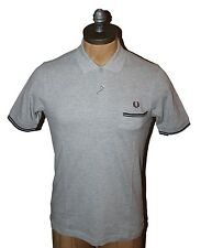 AUTH Fred Perry Men's Gray Rib Pocket Polo Shirt XS