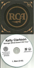 KELLY CLARKSON Stronger What Doesn't Kill you RARE TST PRESS PROMO DJ CD single