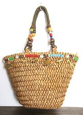 NEW CAPPELLI BRAIDED BROWN STRAW BEAD CHARM DECOR BASKET TOTE SHOULDER BAG PURSE