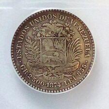 Venezuela 10 Centavos 1874 A VF 30 Serifed A Graded ANACS....Rare...