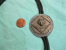 Pewter Silver Plated Frame Cub Scout Wolf Leader Bolo Tie Nylon Cord