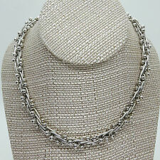 Vintage Sterling Modernist Ball & Paper Clip Chain Necklace