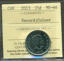 """2013 Canada 25 Cent """"Secord Colour"""" ICCS Certified MS-66"""