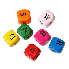 500x Legno Perline lettere A-Z Mix colorato 10x9mm per Collane ciuccio Gioielli