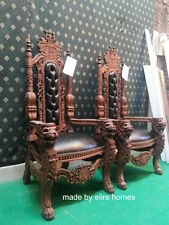 STOCK Lion King Throne Chair ~ Antique Mahogany / Dark  tone with faux leather