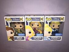 3x Funko POP DISNEY PRINCESS BELLE / CINDERELLA / RAPUNZEL WALMART EXCLUSIVES