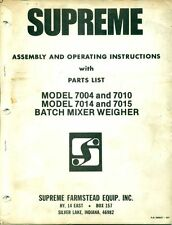 SUPREME FARMSTEAD EQUIP OPERATING INSTRUCTION Batch Mixer Weigher 500927 (AD-90)