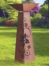 Edelrost Säule/Konus Lilienornament mit Schale im SET 96cm x 30cm