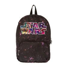 Disney Star Wars Galaxy Backpack Starry Galaxy Print Star Wars Logo Bookbag NWT