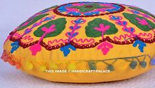 "16"" YELLOW ROUND DECORATIVE FLOOR SEATING CUSHION PILLOW COVER Indian Boho Decor"