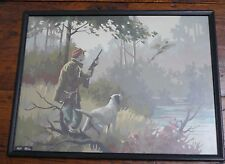 Vintage 1960s 'Pheasant Hunter and his Dog' PBN Paint By Numbers Painting