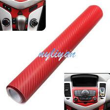 "Universal DIY 3D Carbon Fiber Vinyl Wrap Sheet Roll Sticker Decal 12""x60"" Red"