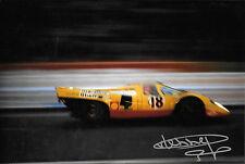 Gijs Van Lennep SIGNED 12x8  Team AAW Racing  Porsche 917K , Le Mans 24hrs 1970