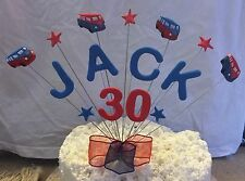 BIRTHDAY CAKE TOPPER ANY AGE AND NAME VW CAMPERVAN