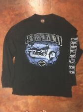 Men's Harley Davidson motorcycles long sleeve black blue shirt skull flame XL HI