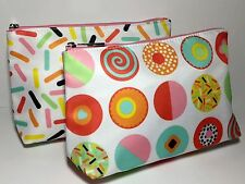 CLINIQUE Rainbow cupcakes sprinkles COSMETIC CASE MAKEUP BAG POUCH set lot of 2