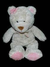 Carters Beige Teddy Bear Plush Lovey Pink Flower Bow 11.5""