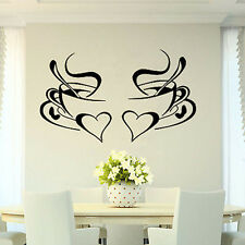 1pc 2tazze caffè cuore Wall Sticker Decal Cafe cucina Decor Casa arte murale DIY