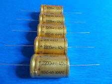 5 unidades condensadores axial roe 2200µf/40v 40-105c l 40 dm 25mm