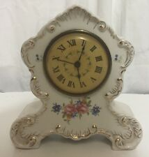 VINTAGE Victorian Style  Electric Clock Pink Roses & Gold Shabby Chic