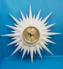 Modern Painted White Sunburst Sun Electric Wood Wall Clock Brass Bezel Used